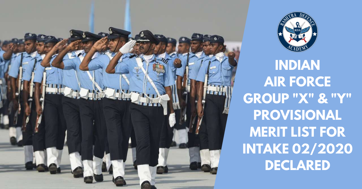 Indian Air Force Group X & Y Provisional Merit List For INTAKE: 02/2020